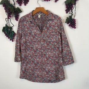 L.L Bean Cotton Floral Collared 3/4 Sleeves Shirt